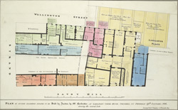 Plan of sundry leasehold estate to be sold by auction by Mr. Farebrother, at Garraway's Coffee House, Cornhill, on Tuesday 19th January, 1826, shewing the several lots
